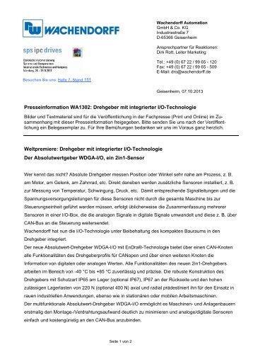 Presseinformation WA1302: Drehgeber mit integrierter I/O ...