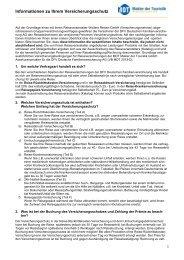 Informationen zu Ihrem Versicherungsschutz - TUI Wolters