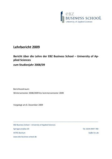 Lehrbericht 2008-09 - EBZ Business School