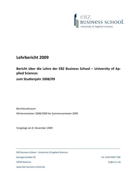 Lehrbericht 2008-09 - EBZ Business School