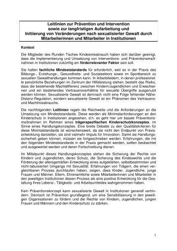 Leitlinien zur Pävention und Intervention AG I - Runder Tisch