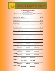 Lunch Specials - Tang's Pacific Bistro