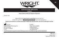 SJO SILICONE IMPLANTS - Wright Medical Technology, Inc.