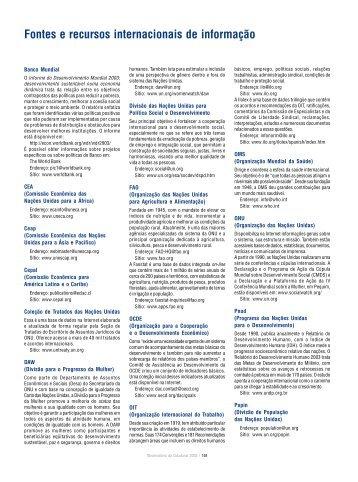 Fontes e recursos internacionais de informação - Social Watch