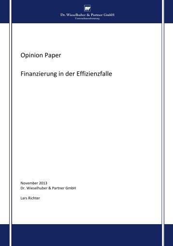 Opinion Paper Finanzierung in der Effizienzfalle - Dr. Wieselhuber ...