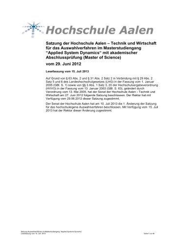 Applied System Dynamic - Hochschule Aalen