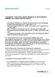 Medieninformation voestalpine: Trotz Krise starkes Ergebnis im ...