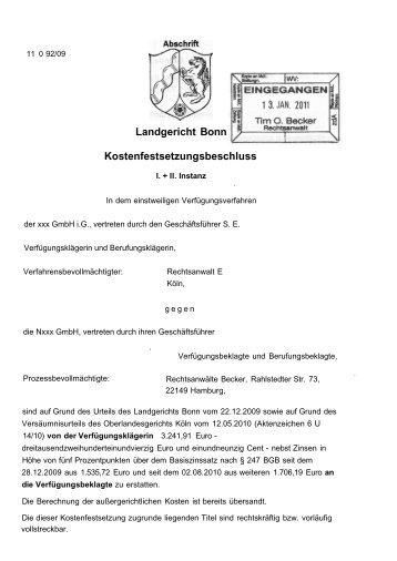 Kostenfestsetzungsbeschluss des Landgerichts Bonn vom 05.01.2011