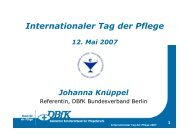 Internationaler Tag der Pflege 12. Mai 2007 Johanna Knüppel ...