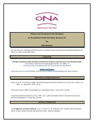 Bibliography for violence and harassment - Ontario Nurses ...