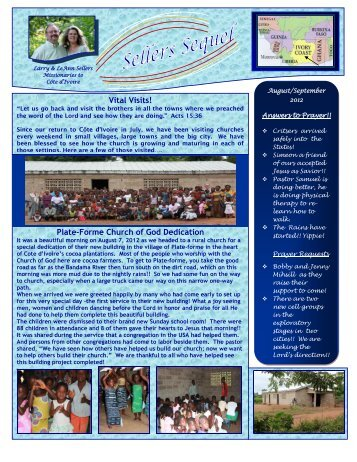 September 2012 newsletter - Church of God Global Missions