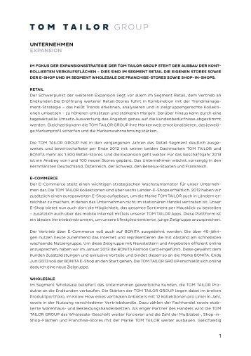 UNTERNEHMEN EXPANSION 1 - TOM TAILOR GROUP