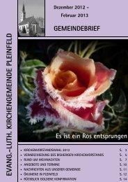 Gemeindebrief Dezember 2012 bis Februar 2013 - Luth ...