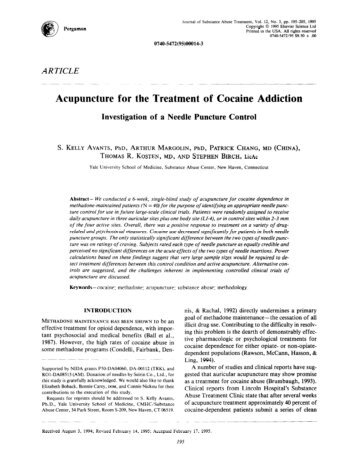 Acupuncture for the Treatment of Cocaine Addiction