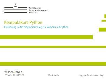 Kompaktkurs Python - Westfälische Wilhelms-Universität Münster