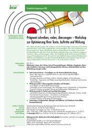 Workshop zur Optimierung Ihrer Texte, Auftritte und Wirkung