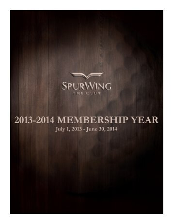 The Club at SpurWing Membership Categories