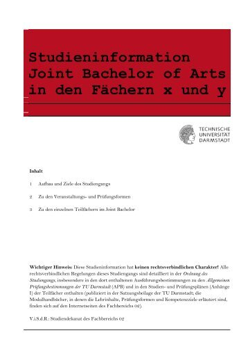 Studieninformation Joint Bachelor of Arts - Fachbereich ...