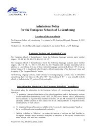 Admissions Policy for the European Schools of Luxembourg