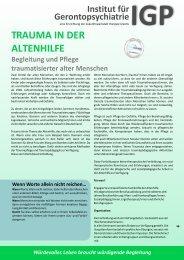 Trauma in der Altenhilfe - Zukunftswerkstatt therapie kreativ