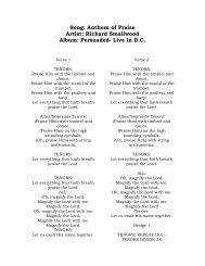 Song: Anthem of Praise Artist: Richard Smallwood Album ... - Filer