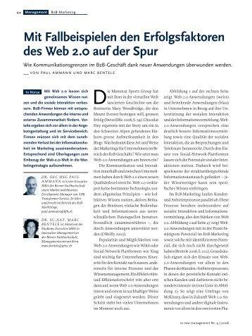 Mit Fallbeispielen den Erfolgsfaktoren des Web 2.0 auf der Spur, io ...