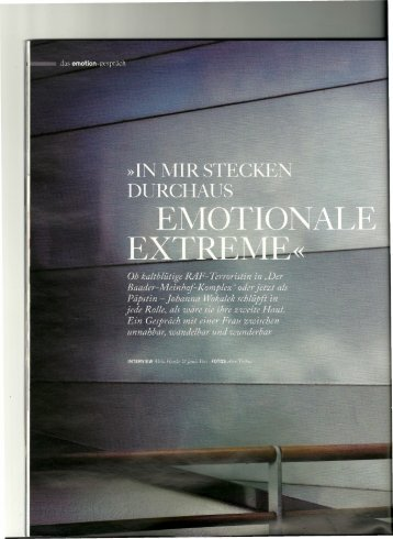 In mir stecken durchaus emotionale Extreme - milahanke.de