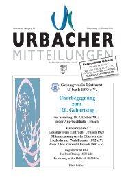 Urbacher Mitteilungsblatt vom 17.10.2013 - Gemeinde Urbach