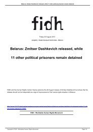 Belarus: Zmitser Dashkevich released, while 11 other ... - FIDH