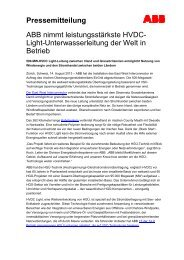 Pressemitteilung ABB nimmt leistungsstärkste HVDC ... - ABB Group