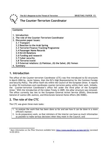 Briefing Paper 15: The Counter-Terrorism Coordinator