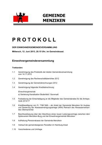 Protokoll der Gemeindeversammlung vom Mittwoch, 12 ... - Menziken