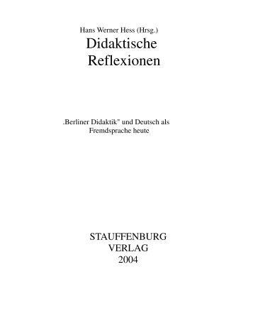 Didaktische Reflexionen - Faculdade de Letras - UFRJ