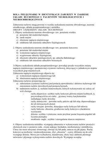 rola pielęgniarki w identyfikacji zaburzeń w zakresie układu ...