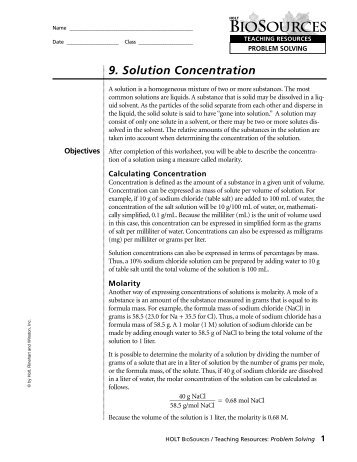 9. Solution Concentration