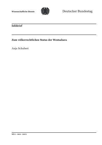 Zum völkerrechtlichen Status der Westsahara - Deutscher Bundestag
