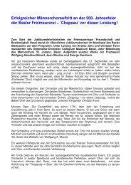 Bericht des Auftritts - Männerchor St. Johann Basel