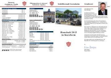 Haushalt 2013 in Kurzform - in Gernsheim