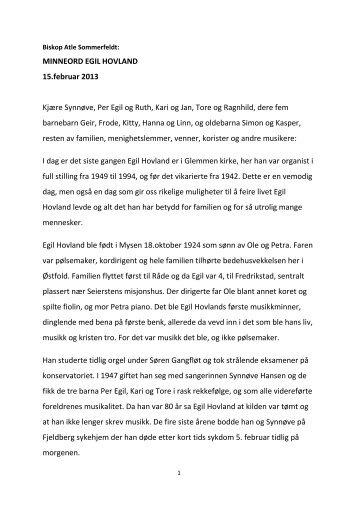 MINNEORD EGIL HOVLAND 15.februar 2013 ... - Den norske kirke