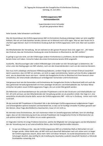 Sachstandsbericht zum Thema NKF - Evangelischer Kirchenkreis ...