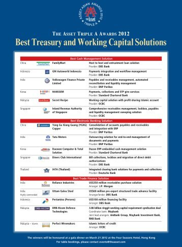 Best Treasury and Working Capital Solutions - The Asset
