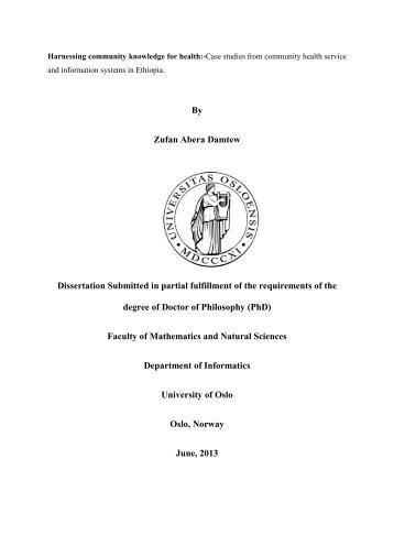 By Zufan Abera Damtew Dissertation Submitted in partial fulfillment ...