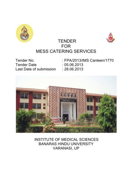 TENDER FOR MESS CATERING SERVICES - BHU