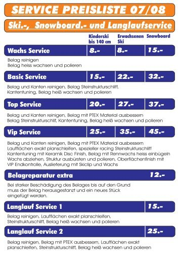 SERVICE PREISLISTE 07/08 - Sport Greil