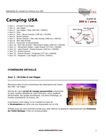 programme détaillé - Voyage Authentik USA