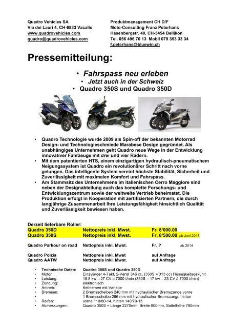 Pressemitteilung Mai 2013 - Moto-Consulting Franz Peterhans