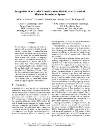 Integration of an Arabic Transliteration Module into a Statistical ...