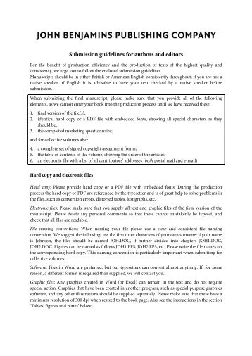 Guidelines for Manuscript Submission