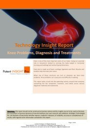 Technology Insight Report: Knee Problems, Diagnosis and Treatments