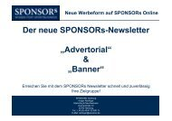 "Der neue SPONSORs-Newsletter ""Advertorial"" & ""Banner"""
